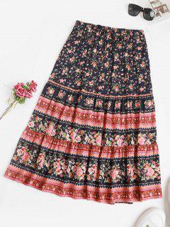 Drawstring Bohemian Floral Midi Skirt - Deep Blue S