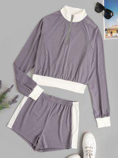 Colorblock Ribbed Quarter Zip Two Piece Set - Concord S