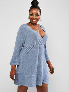 ZAFUL Plus Size Metallic Thread Flounce Hem Surplice Dress - Light Blue 5xl