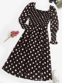 Puff Sleeve Polka Dot Smocked Milkmaid Dress - Black L