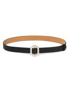 Faux Pearl Oval Buckle Belt - Black
