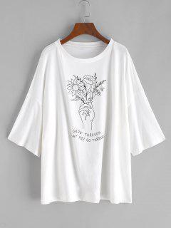 Boyfriend T-Shirt Grafica A Schizzo Di Fiori Con Spalle Scivolate - Bianca L