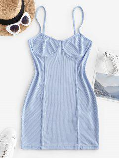 Ribbed Seam Detail Bodycon Cami Dress - Light Blue M