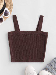 Ribbed Knit Crop Tank Top - Deep Coffee S