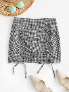 Cinched Front Gingham Mini Skirt - Black M