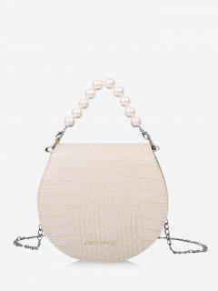 Faux Pearl Handle Chain Handbag - Crystal Cream