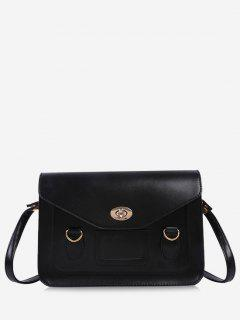 Retro Cover Shoulder Bag - Black