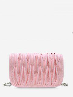 Pleated Chain Crossbody Bag - Pig Pink