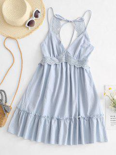 Flounce Hem Crochet Insert Mini Dress - Light Blue L