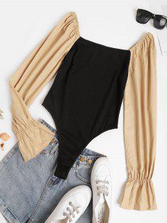 High Cut Poet Sleeve Combo Bodysuit - Black L