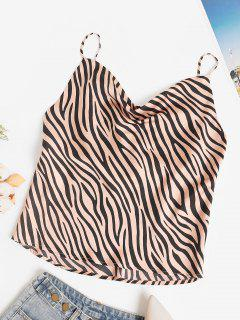 Silky Cowl Front Zebra Print Cami Top - Coffee M