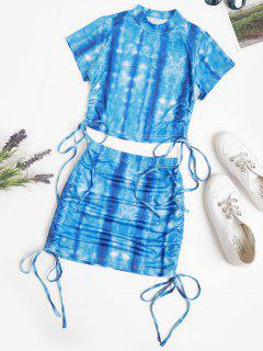 Tie Dye Cinched Cropped Two Piece Dress - Blue S