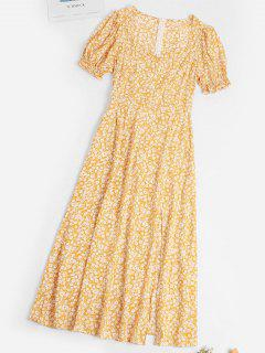 Ditsy Floral Slit Puff Sleeve Milkmaid Dress - Yellow L