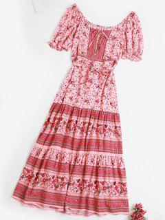 Tie Waist Button Loop Bohemian Floral Dress - Light Pink L
