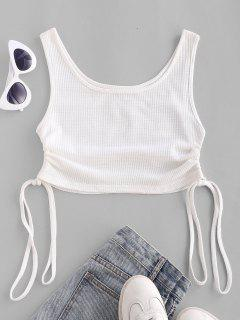 Textured Knit Cinched Crop Tank Top - White L