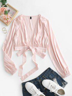 Satini Tied Plunging Crop Blouse - Light Pink M