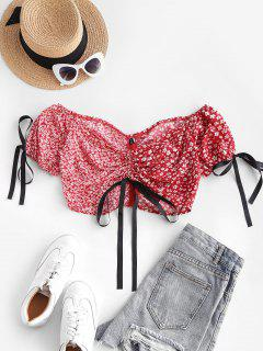 Floral Colorblock Cinched Puff Sleeve Crop Blouse - Red L