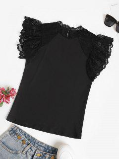 Scalloped Lace Panel Ruffled Sleeve Blouse - Black S