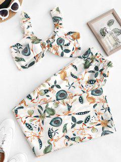 Ruffle Knot Flower Two Piece Palazzo Pants Set - White S