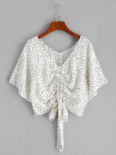 Polka Dot Raglan Sleeve Cinched Blouse - White L