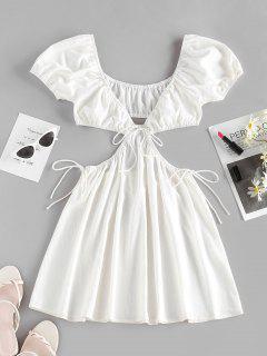 ZAFUL Cutout Tie Puff Sleeve Plunge Dress - White S