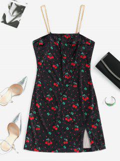 ZAFUL Cherry Lips Velvet Slit Chains Plus Size Dress - Multi Xl