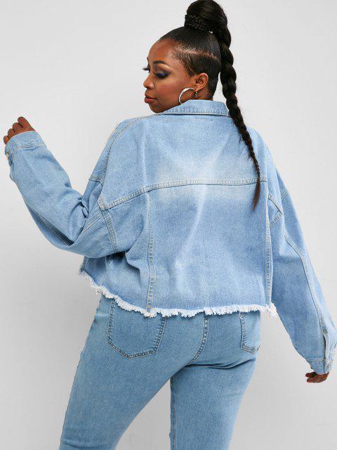 Veste Déchiré Effrangée à Goutte Epaule de Grande Taille en Denim - Bleu L Mobile