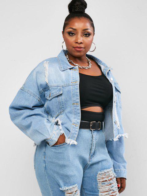 Plus Size Distressed Frayed Drop Shoulder Denim Jacket - أزرق L Mobile