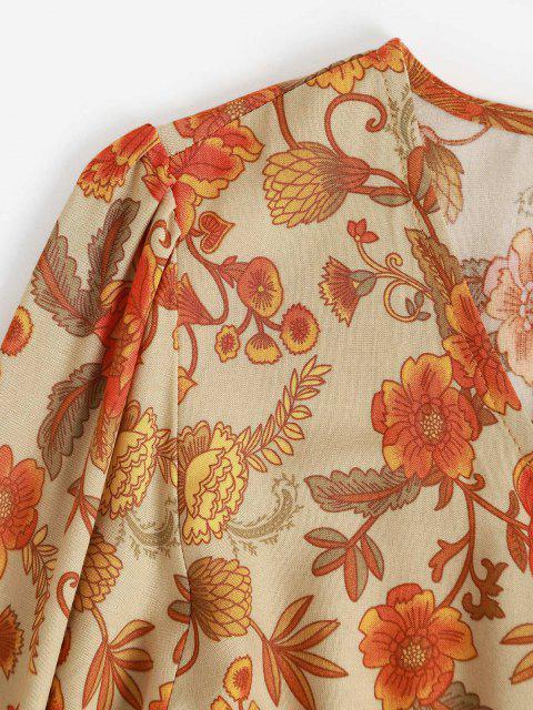 latest Button Loop Bohemian Printed Tassels Maxi Dress - DEEP YELLOW L Mobile
