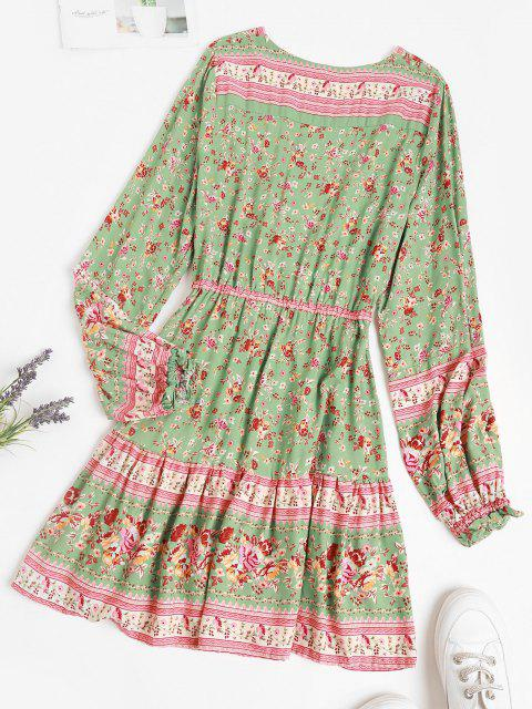 shop Button Loop Poet Sleeve Bohemian Floral Dress - LIGHT GREEN L Mobile