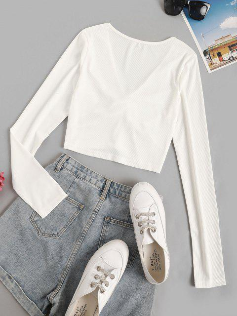 women Cropped Twisted Front Ribbed Tee - WHITE S Mobile