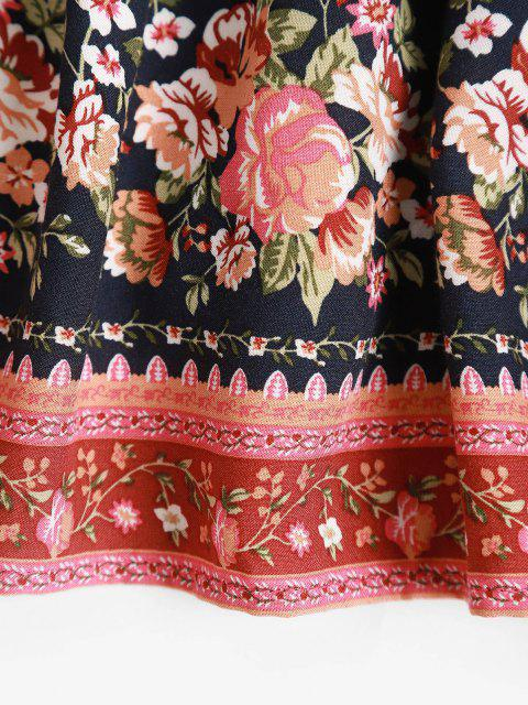 online Drawstring Bohemian Floral Midi Skirt - DEEP BLUE S Mobile