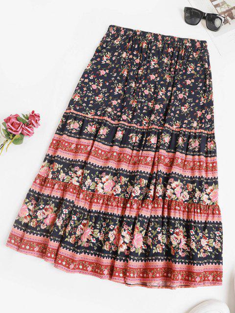 Drawstring Bohemian Floral Midi Skirt - ازرق غامق L Mobile