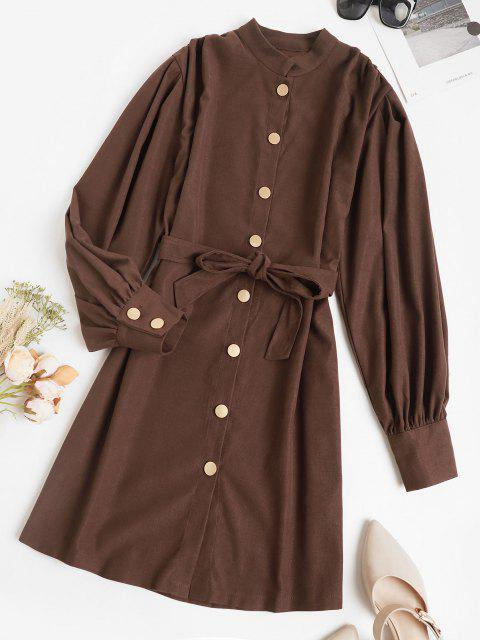 lady Belted Casual Balloon Sleeve Shirt Dress - DEEP COFFEE S Mobile