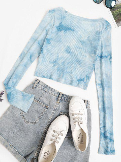 sale Ribbed Stitching Tie Dye Baby Tee - LIGHT BLUE S Mobile