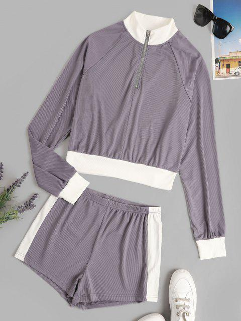 affordable Colorblock Ribbed Quarter Zip Two Piece Set - CONCORD M Mobile