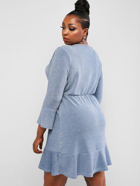 ZAFUL Vestido Sobrepelliz Metálico de Talla Grande - Azul claro L Mobile