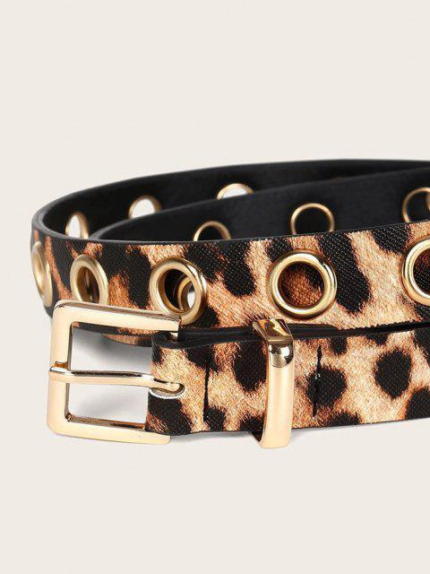 sale Leopard Pattern Grommet Buckle Belt - LEOPARD  Mobile