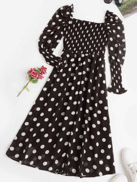 outfits Puff Sleeve Polka Dot Smocked Milkmaid Dress - BLACK M Mobile