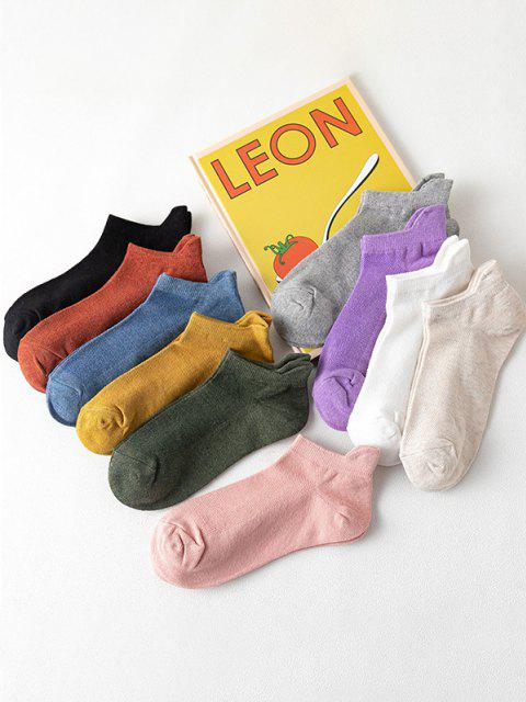 10 Pairs Solid Breathable Anti-Chafe Ankle Socks Set - متعدد  Mobile