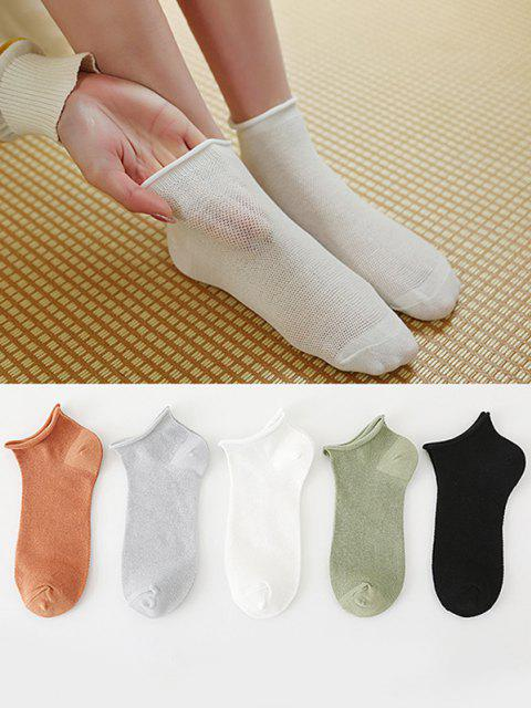 new 5 Pairs Roll Top Solid Hollow Out Breathable Socks Set - MULTI  Mobile