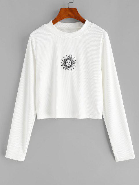 unique ZAFUL Plus Size Rib-knit Sun Embroidered Long Sleeve Top - WHITE 2XL Mobile