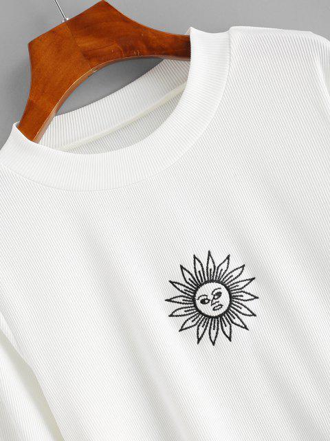 ZAFUL Haut Côtelé Soleil Brodé en Tricot à Manches Longues de Grande Taille - Blanc 5XL Mobile