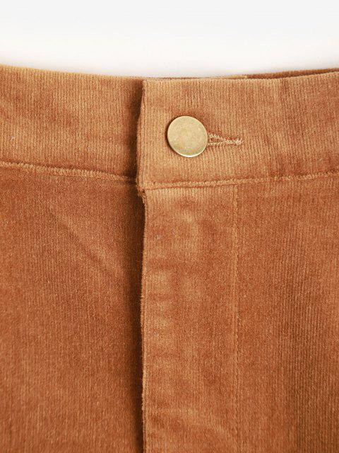 sale High Waisted Corduroy Solid Mini Skirt - COFFEE L Mobile