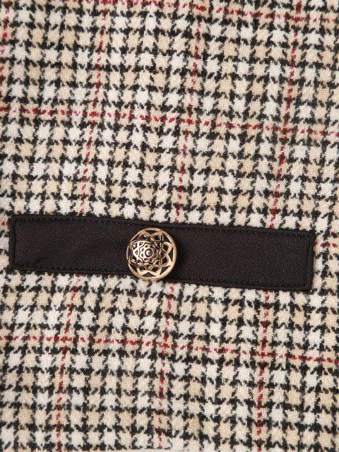 affordable Plaid Tweed Metallic Button Mini Skirt - LIGHT COFFEE S Mobile