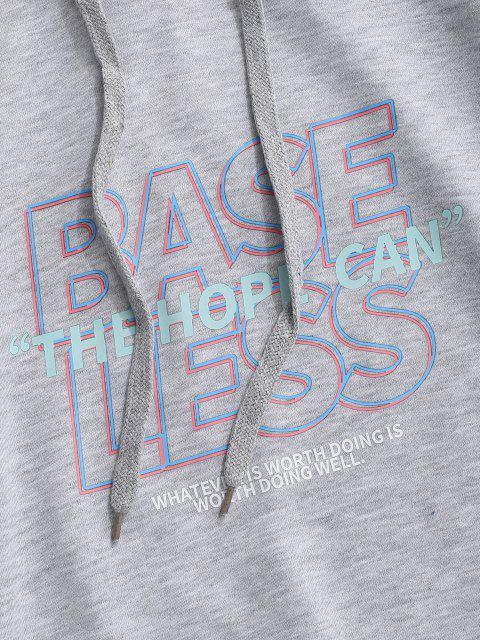 best Slogan Print Drop Shoulder Hoodie - LIGHT GRAY S Mobile