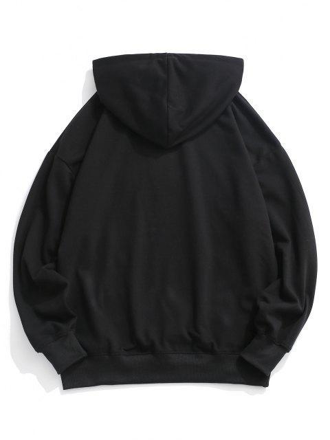 trendy Slogan Print Drop Shoulder Hoodie - BLACK M Mobile
