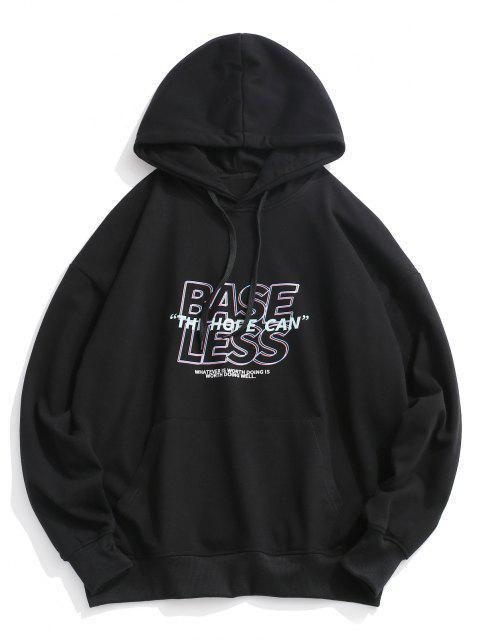 fashion Slogan Print Drop Shoulder Hoodie - BLACK 2XL Mobile