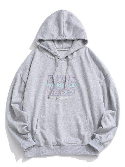 affordable Slogan Print Drop Shoulder Hoodie - LIGHT GRAY M Mobile