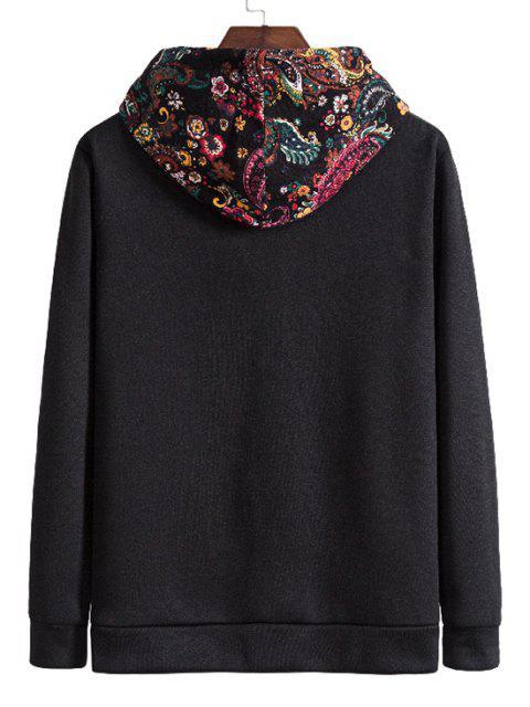 Fleece Jacke mit Kapuze und Paisleydruck - Schwarz S Mobile
